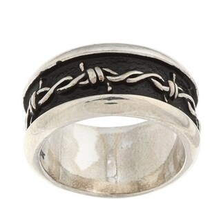 Silvermoon Sterling Silver Barbed Wire Design Band (3 options available)
