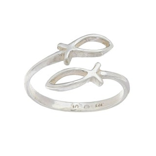 Silvermoon Sterling Silver Christian Fish Ring (2 options available)