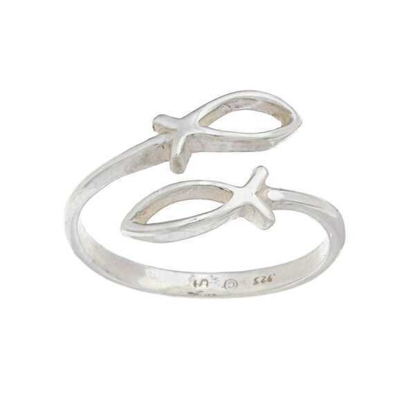 Silvermoon Sterling Silver Christian Fish Ring