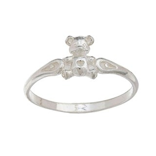 Silvermoon High-polish Sterling Silver Teddy Bear Children's Ring (Option: 8)