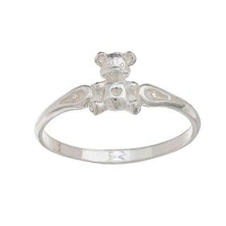 Silvermoon High-polish Sterling Silver Teddy Bear Children's Ring
