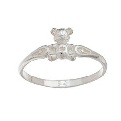 Silvermoon High-polish Sterling Silver Teddy Bear Children's Ring