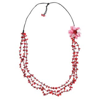 Long 3-Strand Shell Synthetic Coral Flower Red Necklace (Thailand) https://ak1.ostkcdn.com/images/products/6085071/P13755585.jpg?impolicy=medium