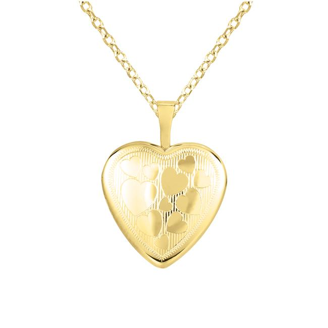 14k Gold and Sterling Silver Engraved Heart Locket Necklace Free Shipping O