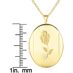 14k Gold and Sterling Silver Rose Oval Locket Necklace - Thumbnail 2