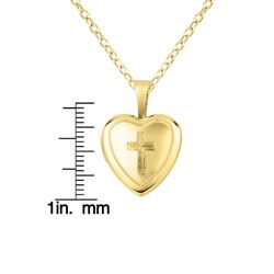 14k Yellow Gold and Silver Cross Heart-shaped Locket Necklace - Thumbnail 2