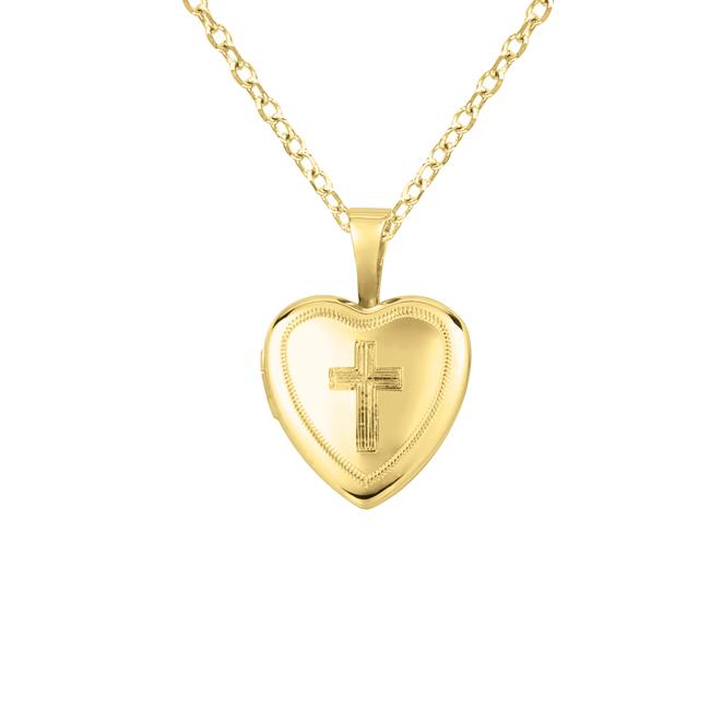 14k Yellow Gold and Silver Cross Heart-shaped Locket Necklace