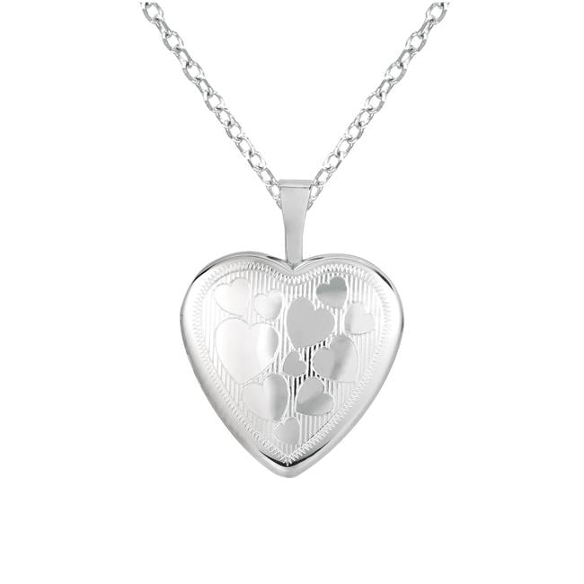 Sterling Silver Heart-shaped Locket Hearts Necklace