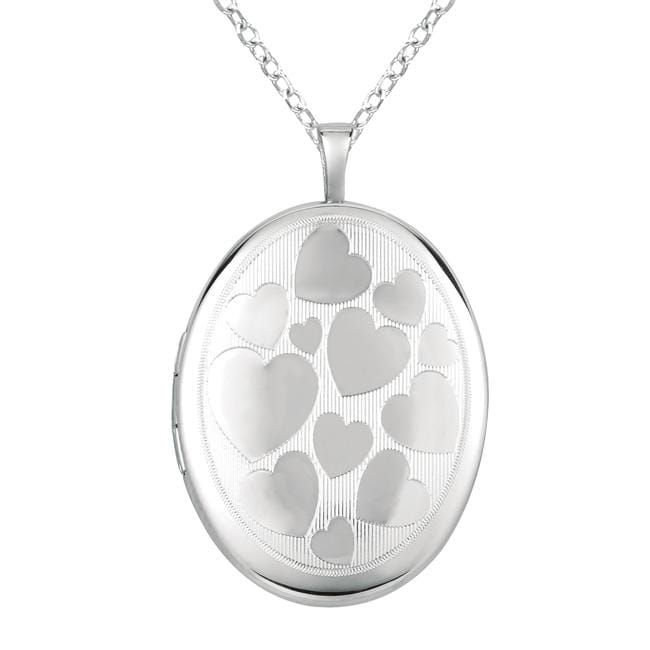 Sterling Silver Hearts Oval-shaped Locket Necklace