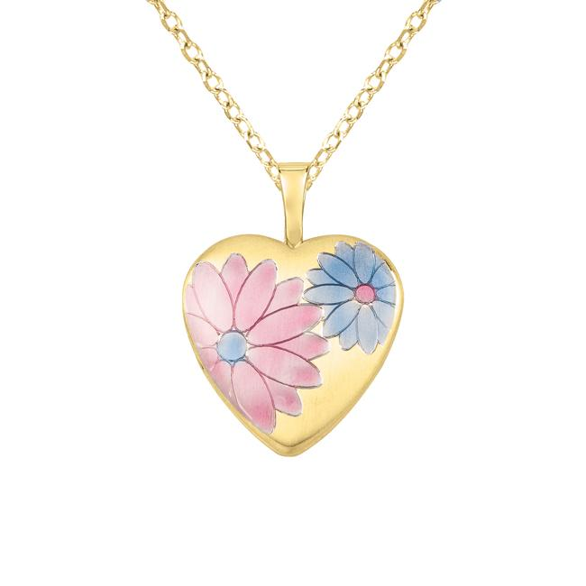 9a5aaaa17ab2f 14k Gold and Silver Colored Flower Heart-shaped Locket Necklace