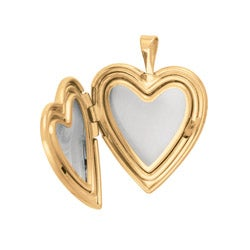 14k Gold and Silver Cross and Flower Heart-shaped Locket Necklace - Thumbnail 1