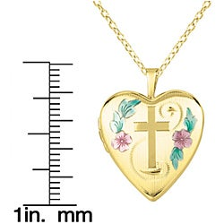 14k Gold and Silver Cross and Flower Heart-shaped Locket Necklace - Thumbnail 2
