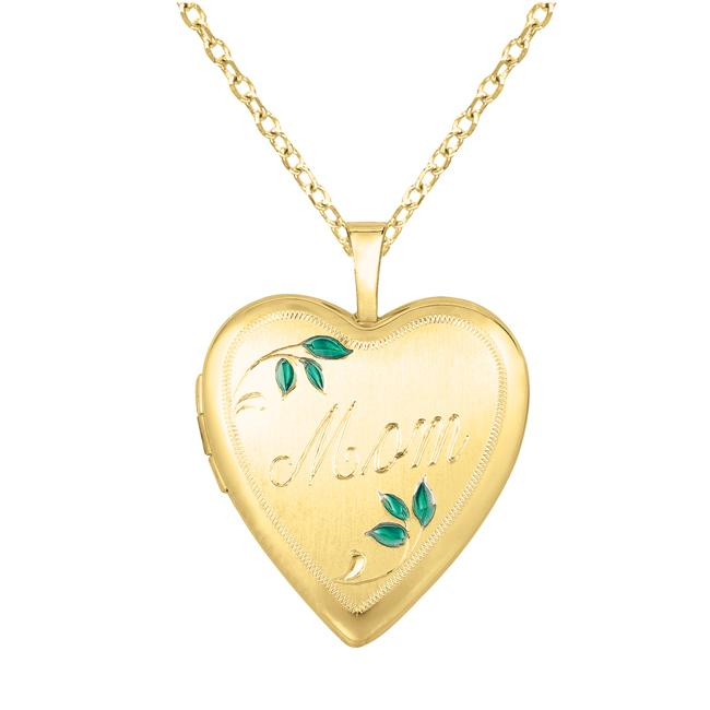 Sterling Silver and 14k Gold 'Mom' Leaves Heart-shaped Locket Necklace