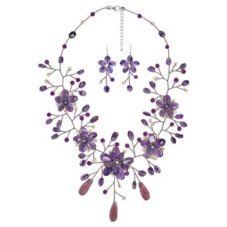 Handmade Floral Nature Purple Ametyst and Pink Pearl Jewelry Set (Thailand)