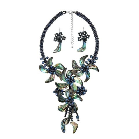 Handmade Peacock Abalone Shell Floral Statement Jewelry Set (Thailand)