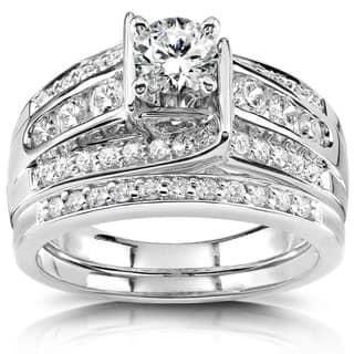 Annello 14k White Gold 1ct TDW Diamond Bridal Ring Set|https://ak1.ostkcdn.com/images/products/6085188/P13755686.jpg?impolicy=medium