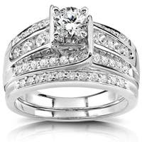 Annello 14k White Gold 1ct TDW Diamond Bridal Ring Set