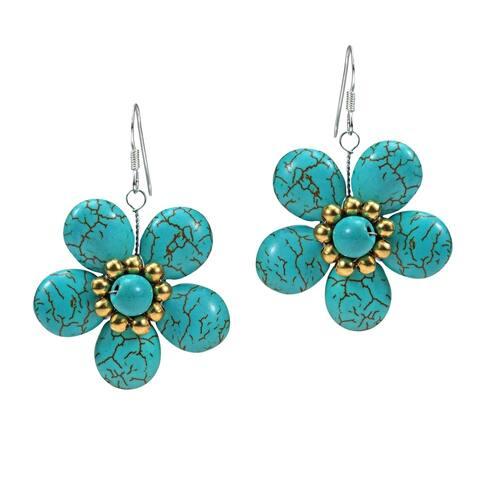 Handmade Sterling Silver Blue Turquoise Flower Earrings (Thailand)