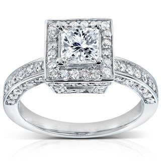 Annello 14k White Gold 1 1/2ct TDW Diamond Engagement Ring (H-I, I1-I2)