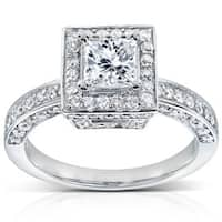 Annello by Kobelli 14k White Gold 1 1/2ct TDW Diamond Engagement Ring