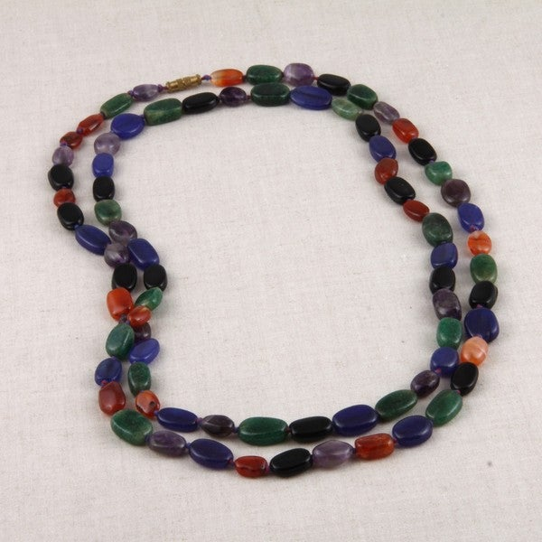 Hand-crafted Agate Dainty Mixed-color Brass-plated Necklace (India)