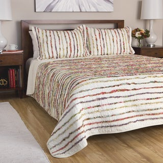 Greenland Home Fashions Bella Multicolor Ruffled Floral-print 3-piece Cotton Quilt Set