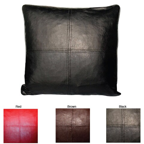 Faux Leather Feather and Down-filled Throw Pillows (Set of 2)