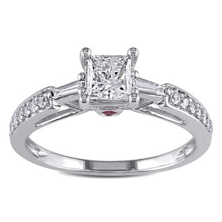 Miadora Signature Collection 14k Gold 1ct TDW Diamond and Pink Sapphire Engagement Ring