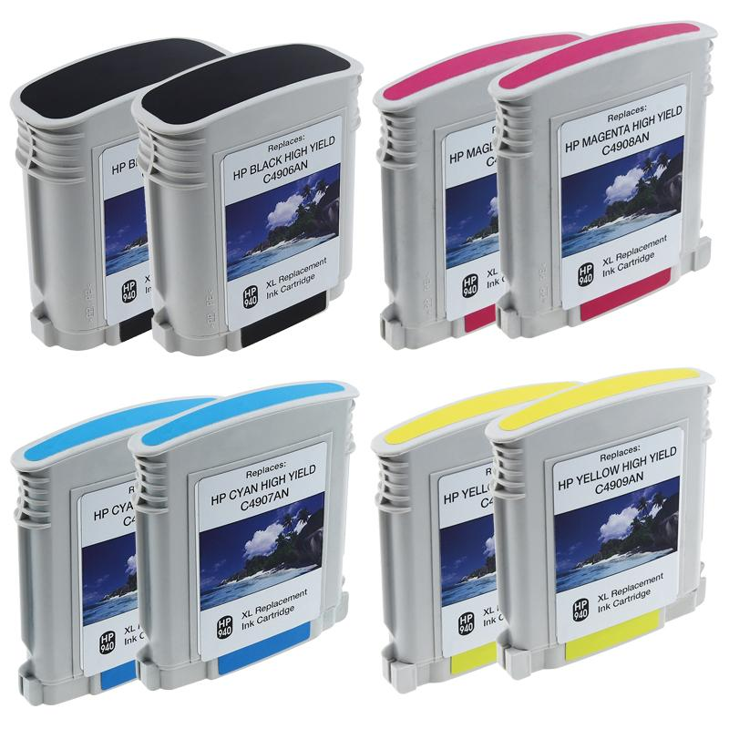 INSTEN 8-piece HP 940XL Black Color Ink Cartridge Combo (Remanufactured)