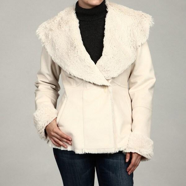 Jones New York Women's Faux-fur Rabbit Suede Coat