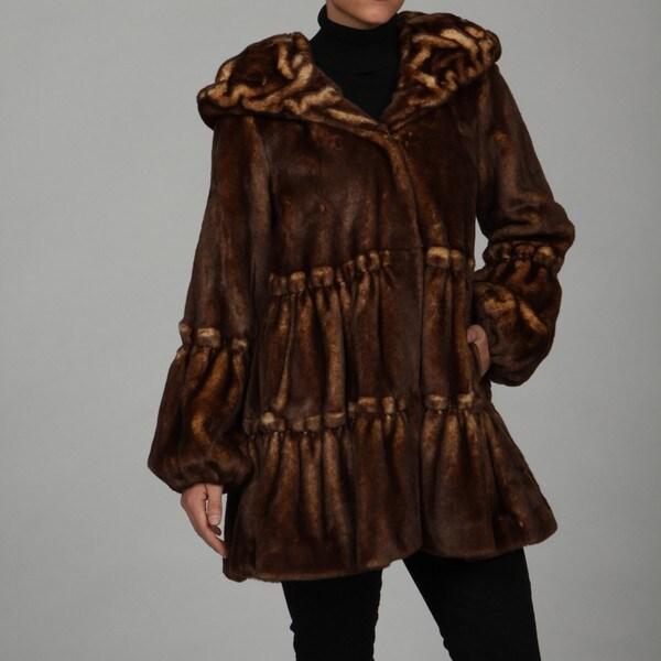 Jones New York Women's Wild Mink Faux-fur Coat