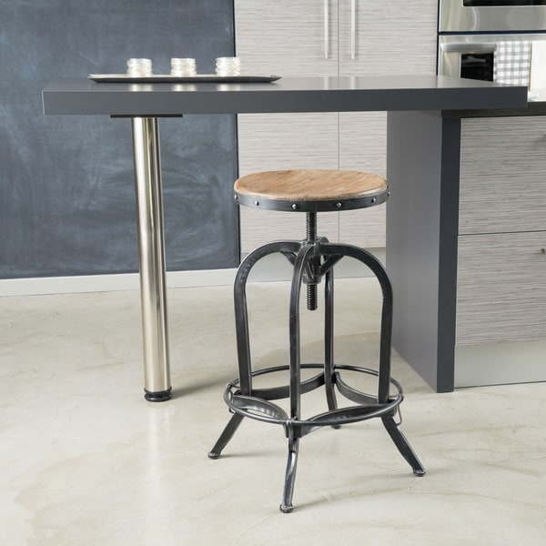 Adjustable Natural Fir Wood Finish Barstool by Christopher Knight Home