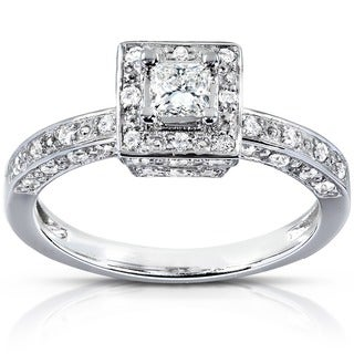 Annello by Kobelli 14k White Gold 1/2ct TDW Diamond Halo Engagement Ring