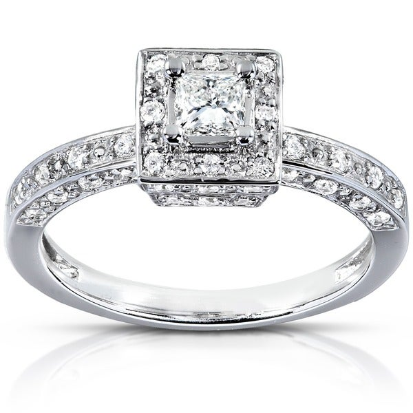 Annello by Kobelli 14k White Gold 1/2ct TDW Diamond Halo Engagement Ring (H-I, I1-I2)