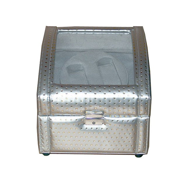 Rocket Silver and Gray Double Watch Winder (8.5' x 8.25' x 7.75') - Thumbnail 0
