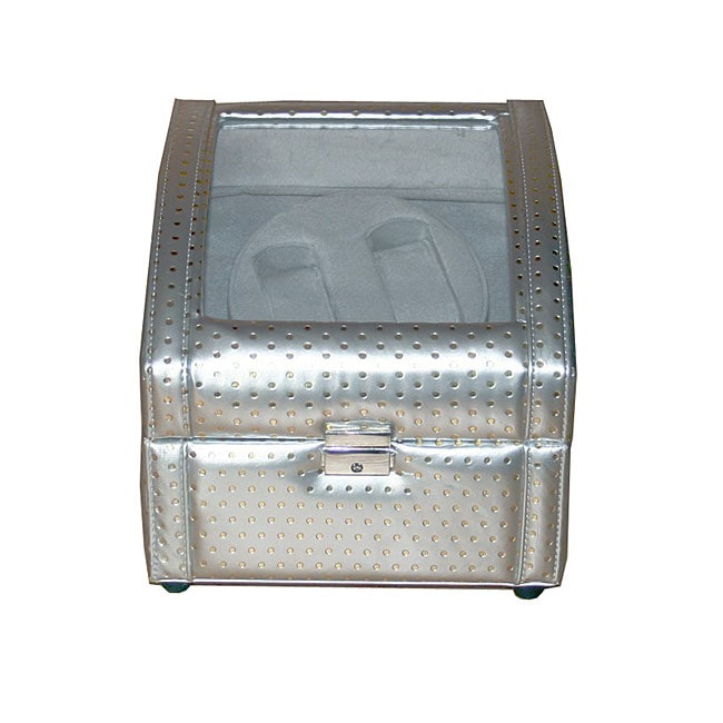 Rocket Silver and Gray Double Watch Winder (8.5' x 8.25' x 7.75')