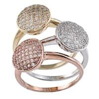 La Preciosa Gold over Silver Stackable Cubic Zirconia Circle Tri-color Ring Set