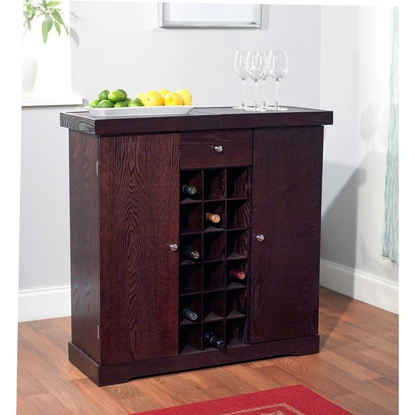 Simple living espresso wine storage cabinet free for Furniture of america alton modern multi storage buffet espresso