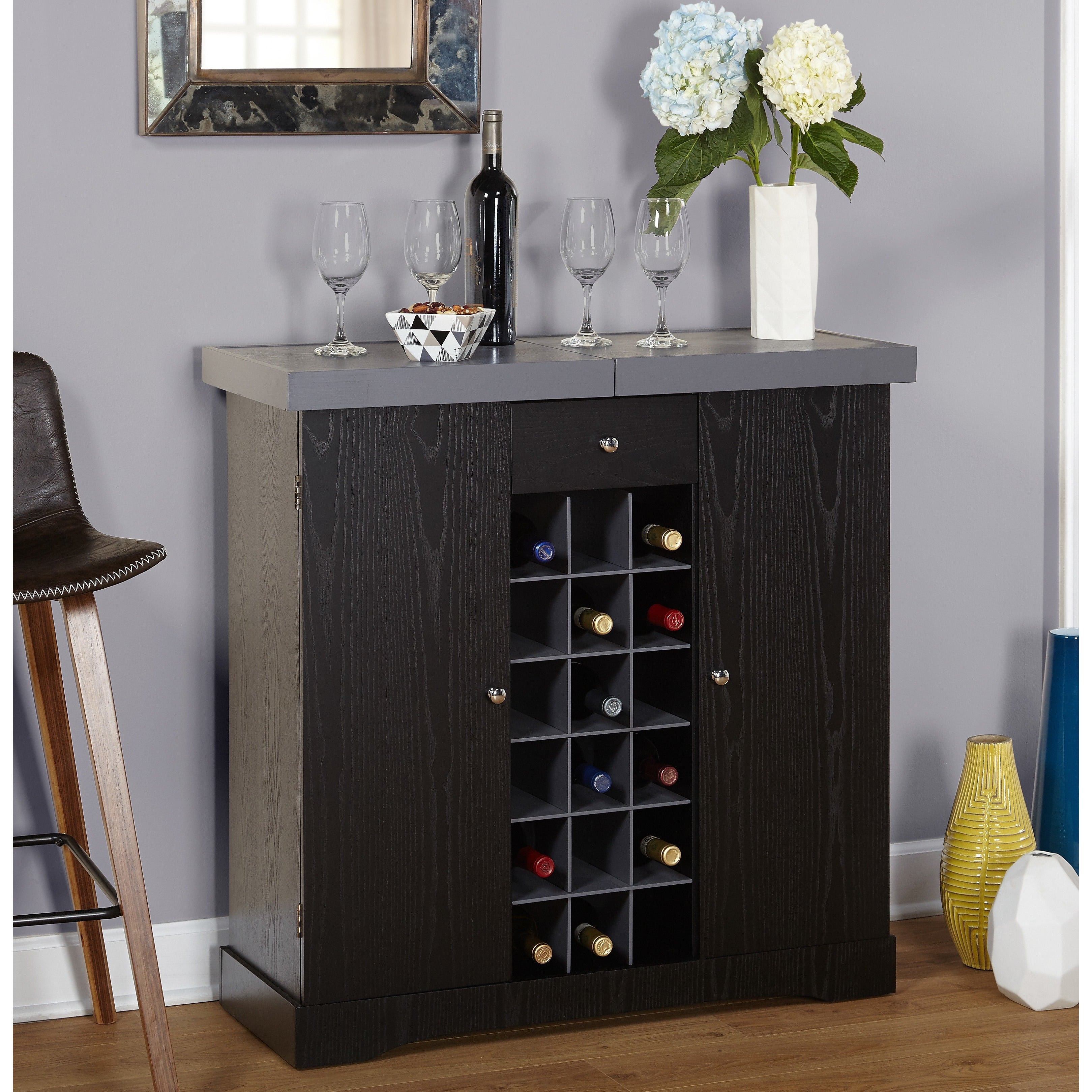 Simple Living Wine Storage Cabinet Free Shipping Today Overstock