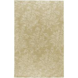Hand-crafted Solid Beige Damask Duncan Wool Rug (8' x 11')