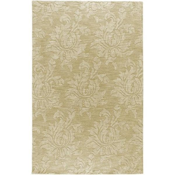 Hand-crafted Solid Beige Damask Duncan Wool Area Rug (8' x 11') - 8' x 11'