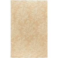 Hand-crafted Solid Beige Damask Duncan Wool Area Rug - 8' X 11'