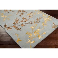 """Hand-tufted Julian Gray Floral Wool Area Rug - 2'6"""" x 8'"""