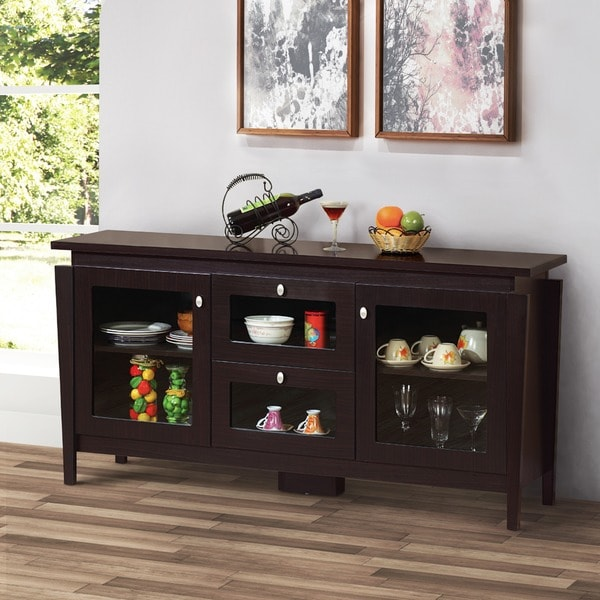 Attirant Furniture Of America Benston Coffee Bean Brown Buffet Cabinet