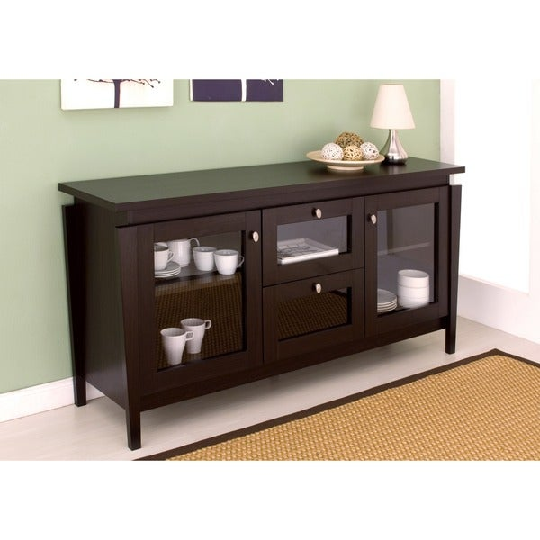 Furniture of america benston coffee bean buffet cabinet for Furniture of america alton modern multi storage buffet espresso