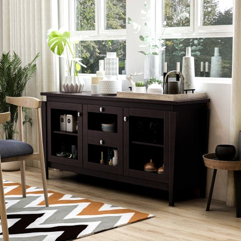 Furniture of America Cays Modern Brown 60-inch Buffet Cabinet