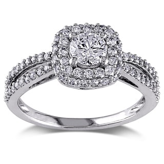 Miadora Signature Collection 14k White Gold 1ct TDW Diamond Halo Split Shank Stackable Engagement Ring (G-H, I1-I2)