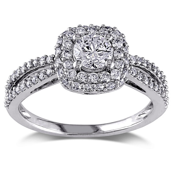 Miadora Signature Collection 14k White Gold 1ct TDW Diamond Halo Split Shank Stackable Engagement Ring (G-H, I1-I2). Opens flyout.