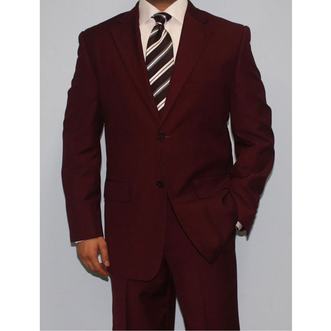 Ferrecci Men's Burgundy Two-button Suit