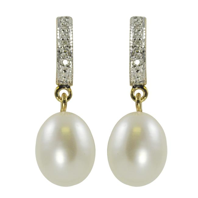 Pearls For You Gold over Silver Pearl and Diamond Earrings (9-10 mm)